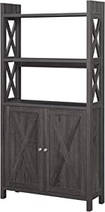 Convenience Concepts Oxford Bookcase with Cabinet, Weathered Gray