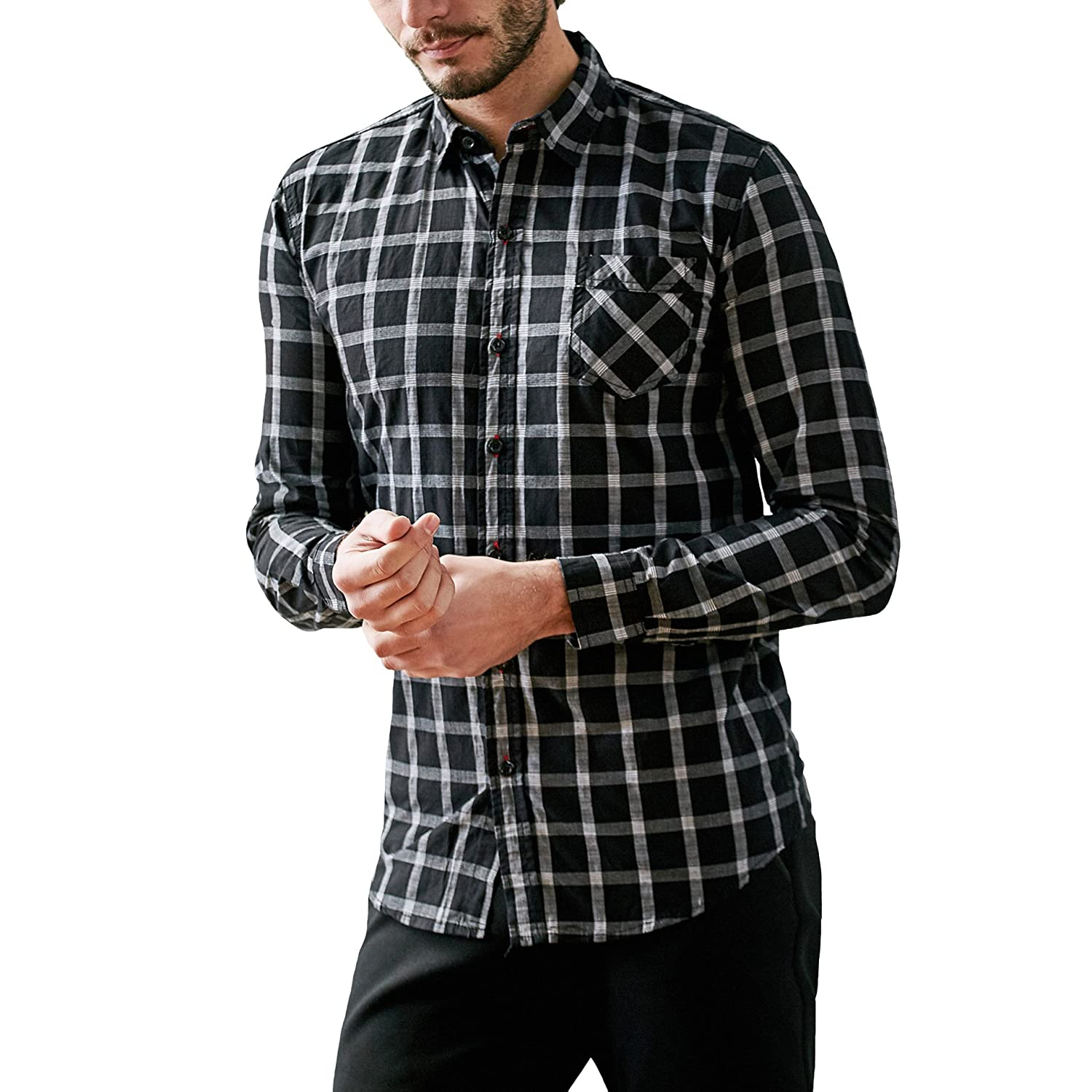 FREDD MARSHALL Mens 100/% Cotton Regular-Fit Long-Sleeve Plaid Shirt with Pocket