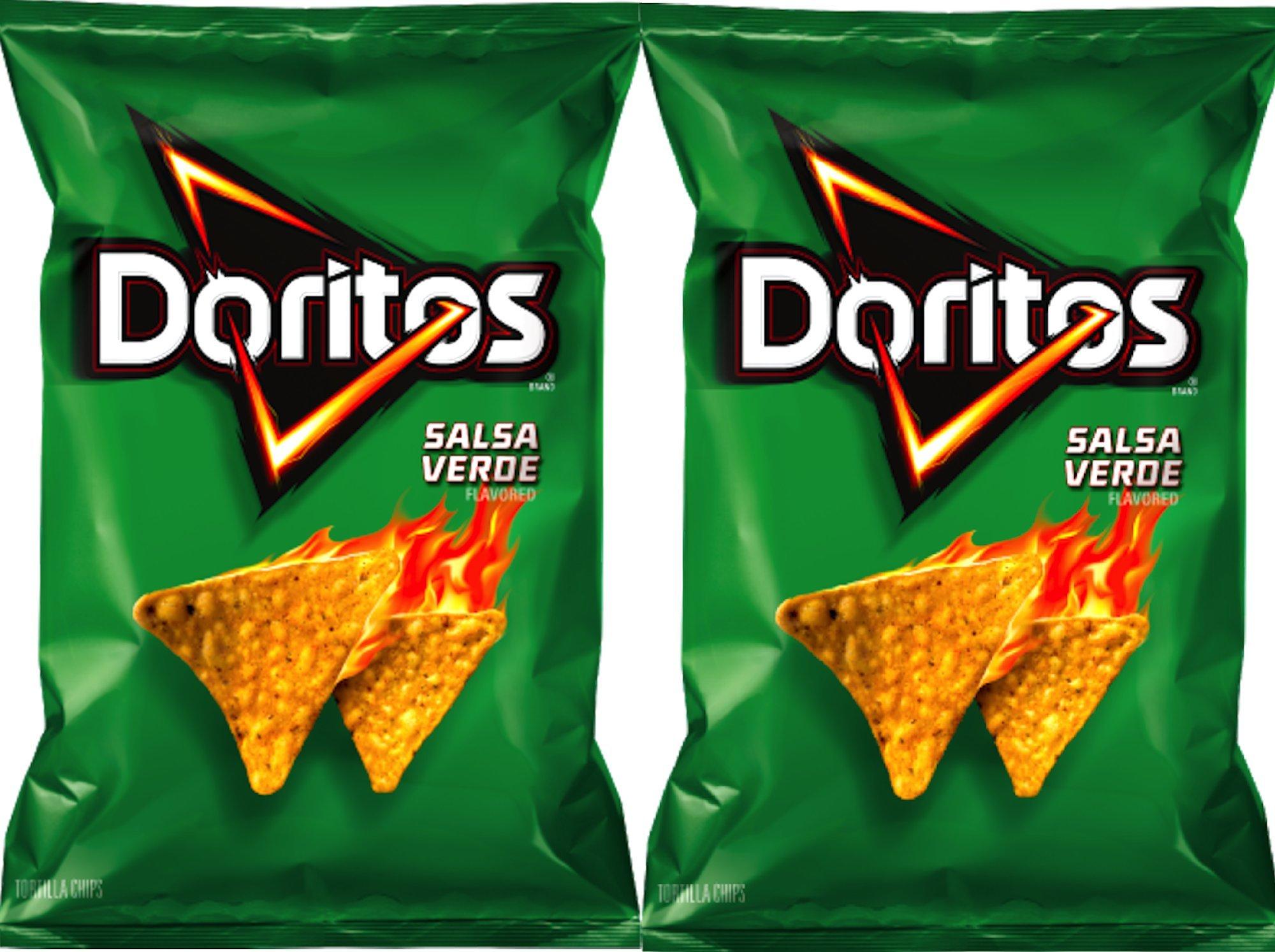 Doritos Salsa verde Flavored Tortilla Chips 10 oz Bags (2) by Doritos