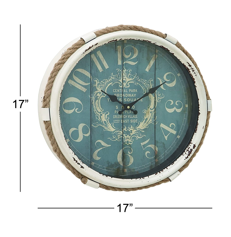 Deco 79 52558 Metal Rope Glass Wall Clock 17 17 UMA Enterprises