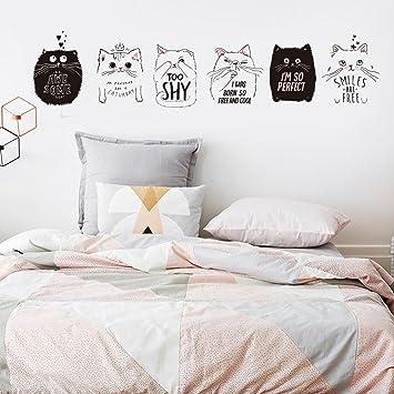 Lo Nuevo Gato Lindo Pegatinas De Pared De Moda Decoración Del Hogar 6 Unids Gatos Negro Blanco Gatos Fondos De Pantalla Diy Kids Room Decoration 60X90 Cm: ...