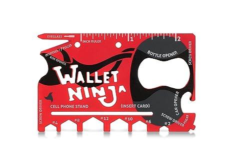 Edición limitada (tacto suave acabado en mate rojo) Wallet Ninja 18 en 1 Multiusos Tamaño de tarjeta de Crédito bolsillo Multi-Tool