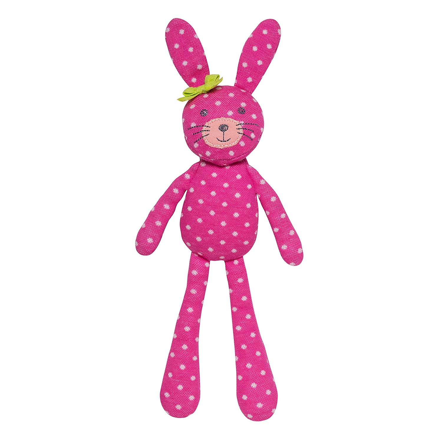 Apple Park Organic Farm Buddies - Spring Bunny Pink Polka Dot Plush Baby Toy for Newborns, Infants, Toddlers - Hypoallergenic, 100% Organic Cotton