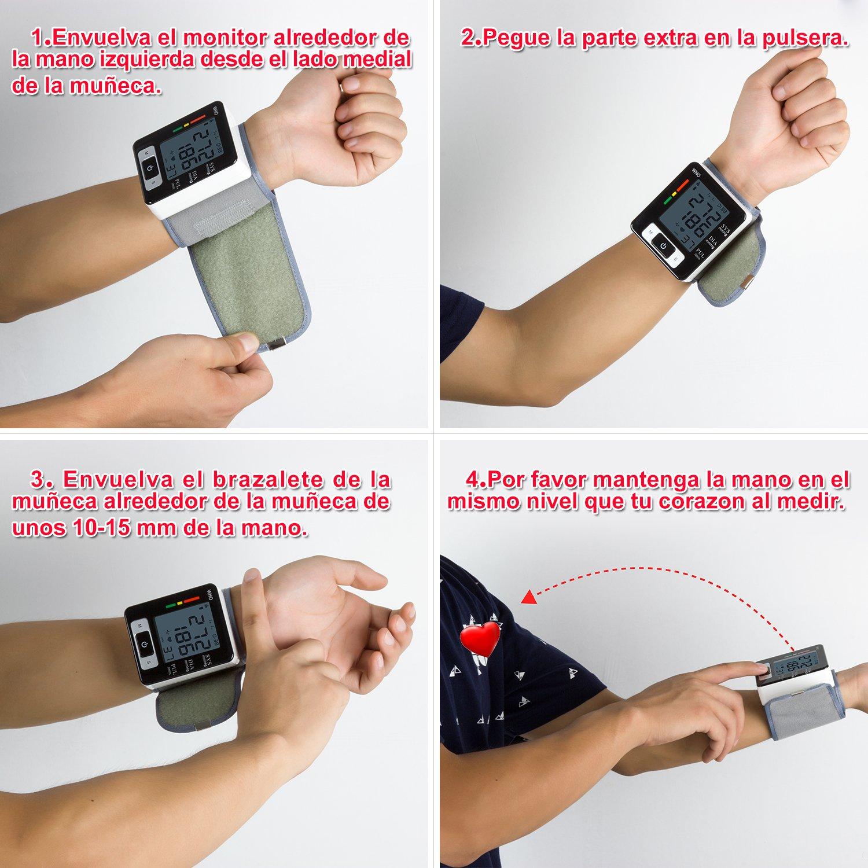 Tensiómetro de Muñeca Eléctrico Digital Portátil Monitor de Presión Arterial con Gran Pantalla Digital Medidor de Tensión de Muñeca con Función de ...