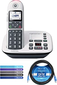 Motorola CD5011 DECT 6.0 Cordless Phone with Digital Answering Machine, Call Block, and 10dB Amplification Bundle with Blucoil 10-FT 1 Gbps Cat5e Cable, and 5-Pack of Reusable Cable Ties