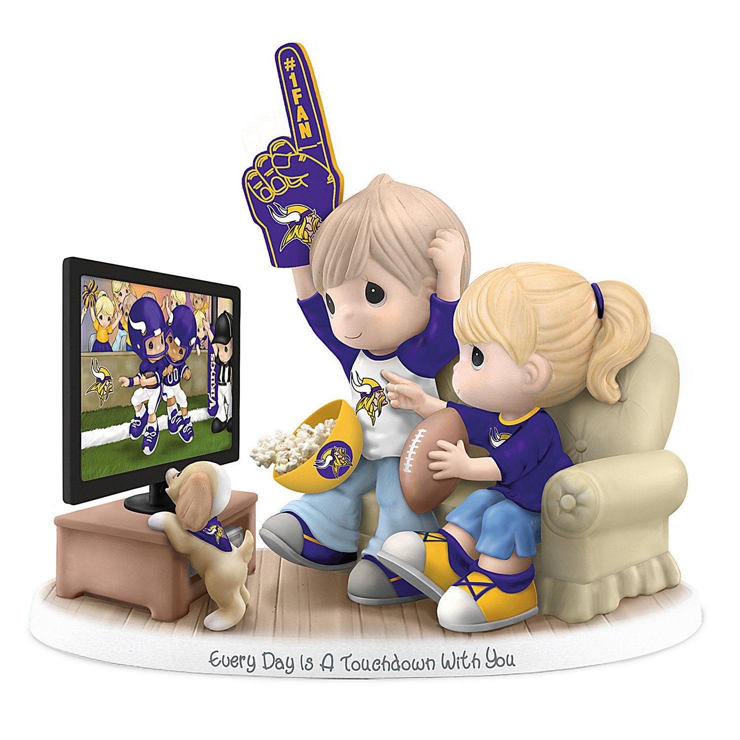 Figurine: Precious Moments Every Day Is A Touchdown With You Vikings Figurine by The Hamilton Collection