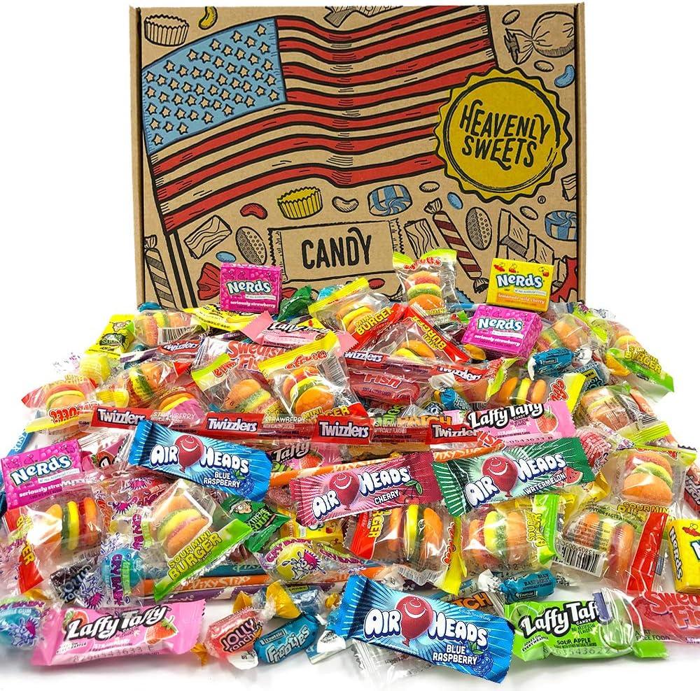 Heavenly Sweets Selección Dulces Americanos Party Mix - Surtido +120 Golosinas de EE.UU. - Regalo de Cumpleaños, Navidad, Halloween para Niños y Adultos - Caja Tipo Retro