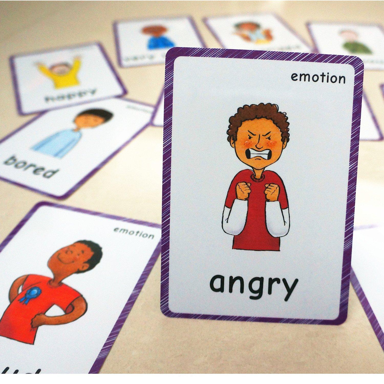 SANTSUN 14 Feelings Emotions Flashcards and Affection Emotional Intelligence Kindergarten Classroom Decoration Background Wall Stickers Teach Flash Card