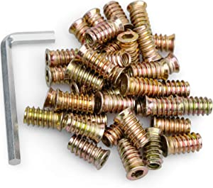 """40Pcs Anwenk 1/4""""-20 x 20mm Furniture Screw in Nut Threaded Wood Inserts Bolt Fastener Connector Hex Socket Drive for Wood Furniture Assortment (with Hex Spanner)"""