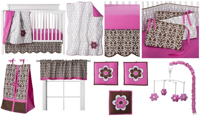 Bacati - Damask Pink/Brown 10 Piece Girls Crib Set with Bumper Pad 100 Percent Cotton