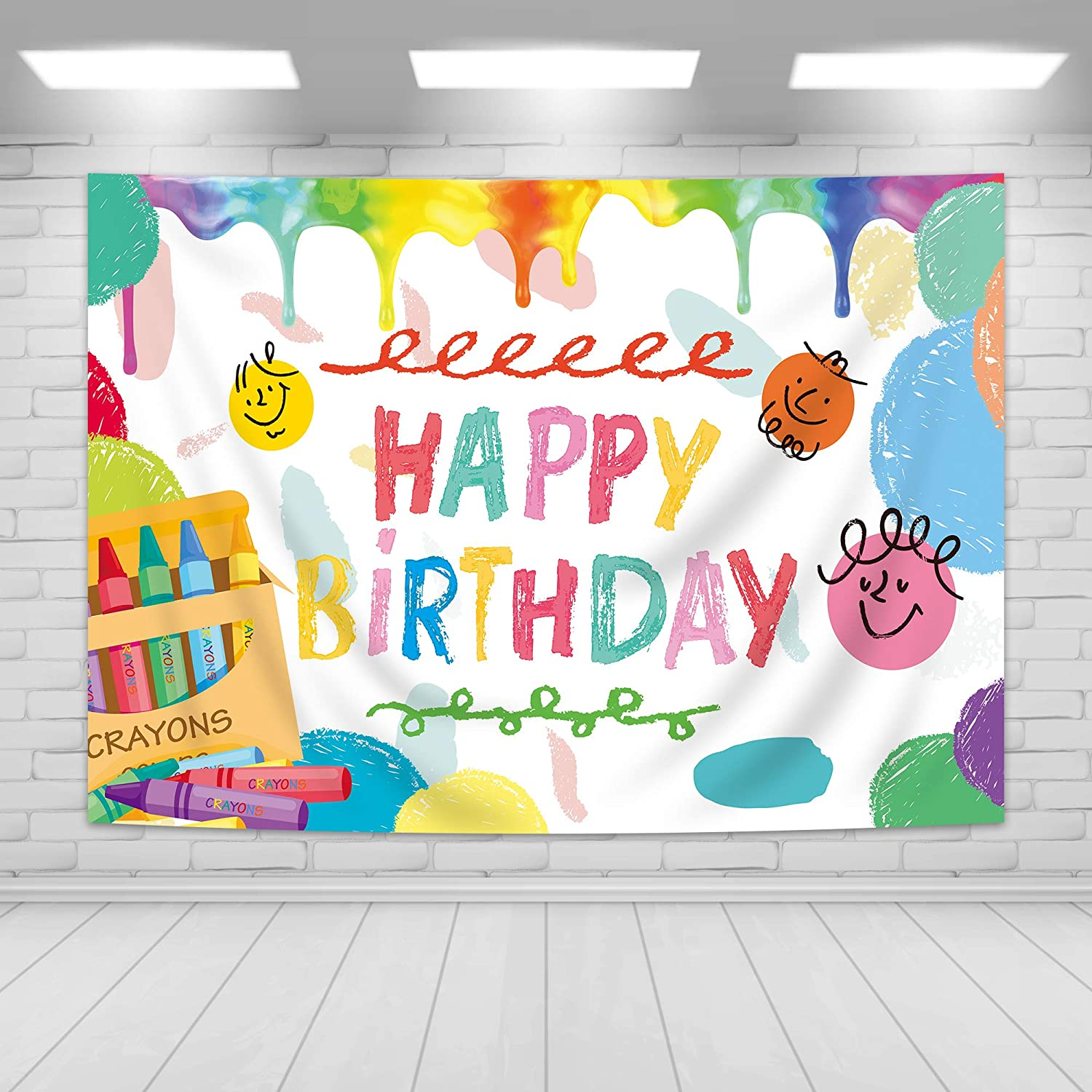Imirell Colorful Crayon Happy Birthday Party Backdrop Coloring Art Theme Photography Background Polyester Fabric Color Pattern Photo Shoot Decor Props 5Wx3H Feet