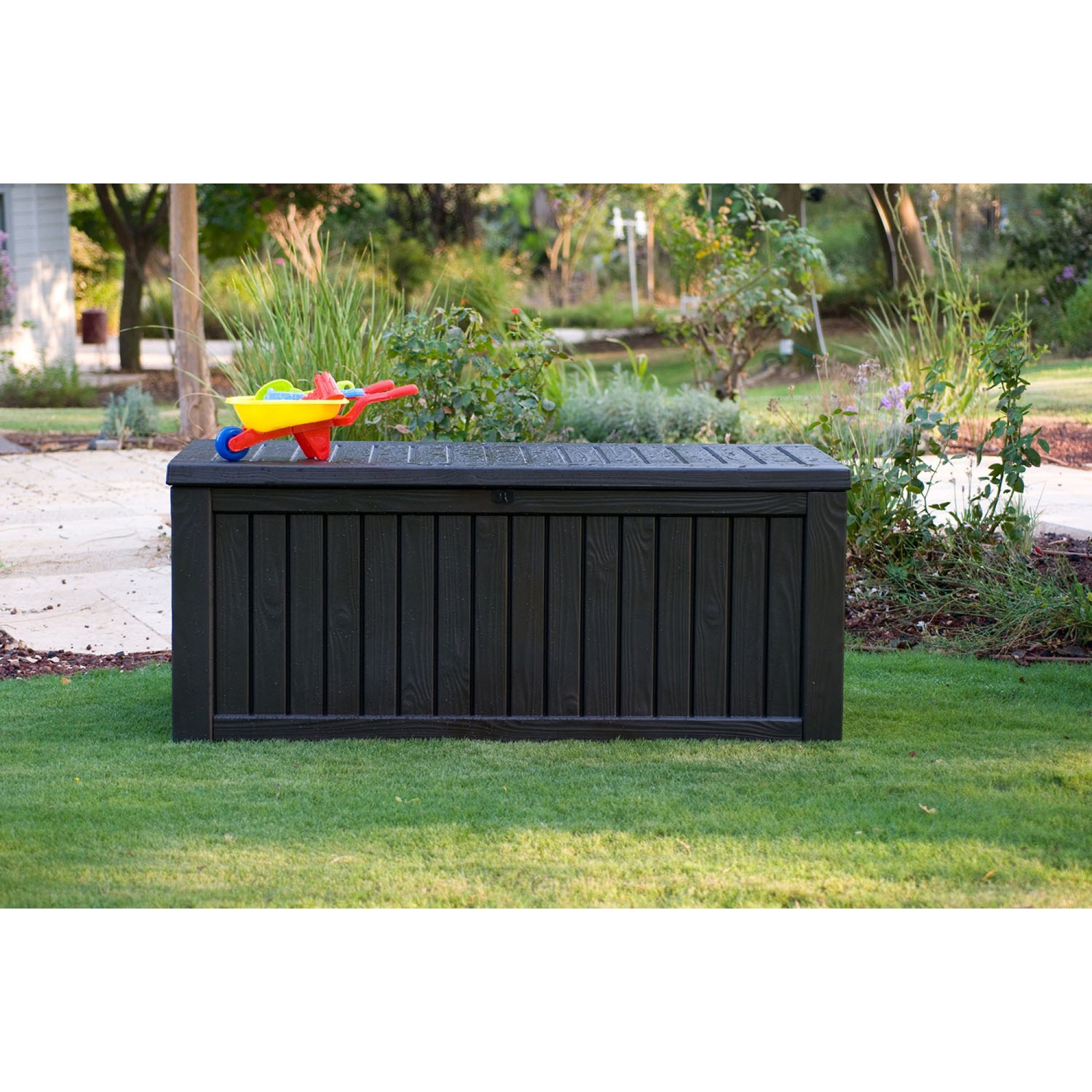 Brown Outdoor Plastic Deck Box Elegant Wood Look Panel Lid Opens Easily All Weather Resin Storage 150 Gallon Capacity Extra Large Vented for Air Circulation Patio Garden Home Outdoor Living Furniture