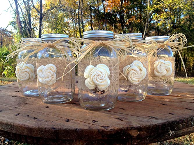 Rustic Mason Jars with Sola Flower - Rustic Wedding Decor - Wedding Mason Jars - Mason Jar Centerpieces - Ball Mason Jars
