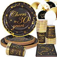 30th Birthday Party Supplies Tableware Set,Cheers to 30 Years plates, cups and Napkins for birtyday party 30th birthday 30 Years Anniversary Party-25 Serves