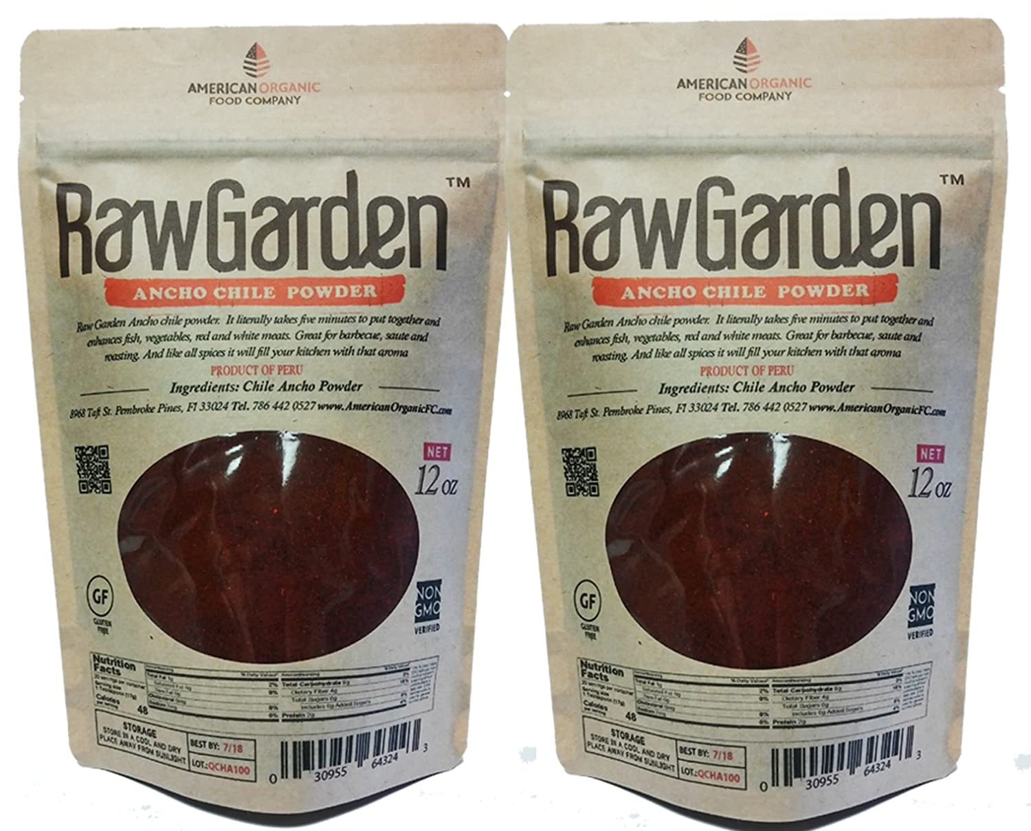 Amazon.com : Raw Garden Ancho Chile Powder (12 oz 2 Pack) : Grocery & Gourmet Food