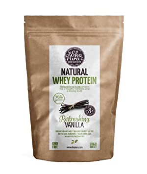 Natural Whey Protein - Refreshing Vanilla - 78% Proteína - Proteína de suero Orgánico - Sin Aditivos - Libre de GMO - Sin Soja - 500g: Amazon.es: Salud y ...