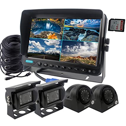 Backup Camera System >> Camslead Car Backup Camera System 9 Inch Monitor Built In Dvr Recorder With Quad Split Screen Vehicle Side Camera Rear View Camera Monitor Kit For