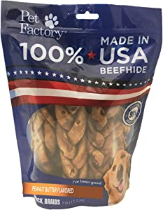Pet Factory 78128 Beefhide | Dog Chews, 99% Digestive, Rawhides to Keep Dogs Busy While Enjoying, 100% Natural, Peanut Butter Flavored Braids