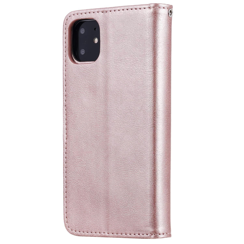 Lomogo Funda Cartera iPhone 11 LOKTU110151 Oro Rosa Funda de Cuero con Tapa Ranuras Tarjetas Soporte Plegable Antigolpes Carcasa Case para Apple iPhone 11 2019