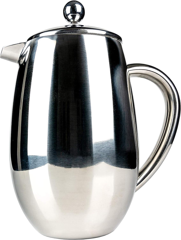 Cafetera de 3 tazas con doble revestimiento y lateral recto, color ...