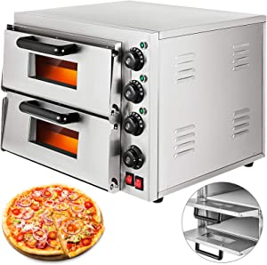 VBENLEM 14'' Commercial Pizza Oven 3000W Stainless Steel Pizza Double Oven 110V Electric Countertop Pizza and Snack Oven Multipurpose Oven for Restaurant Home Pizza Pretzels Roast Yakitori