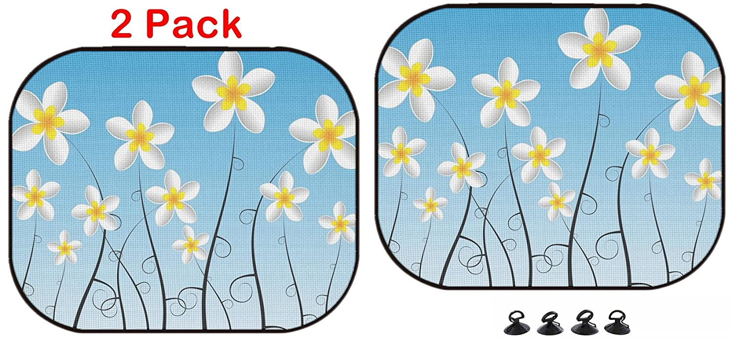 Luxlady Car Sun Shade Protector Block Damaging UV Rays Sunlight Heat for All Vehicles, 2 Pack Abstract Decorative Frangipani Flowers Vector Illustration Image ID 25248248 Luxlady Inc.