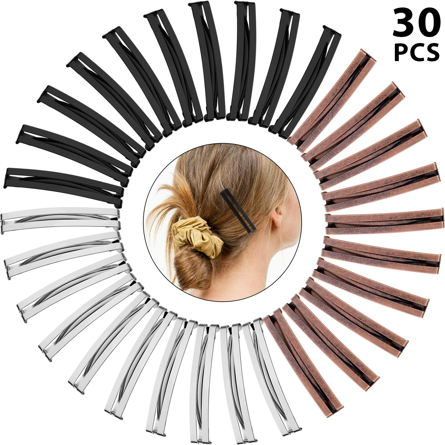 30 Pieces Open Center Domed Metal Barrettes Anti-slip Metal Hair Clip for Girls and Women, Assorted Colors (Open Center Barrette)
