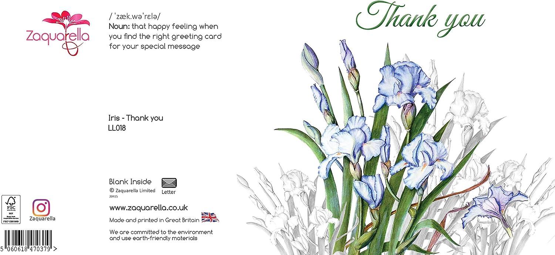 Blank Inside Botanical Watercolour Original Art Thankyou Thank You Greeting Card Thanks Blue Iris Flowers