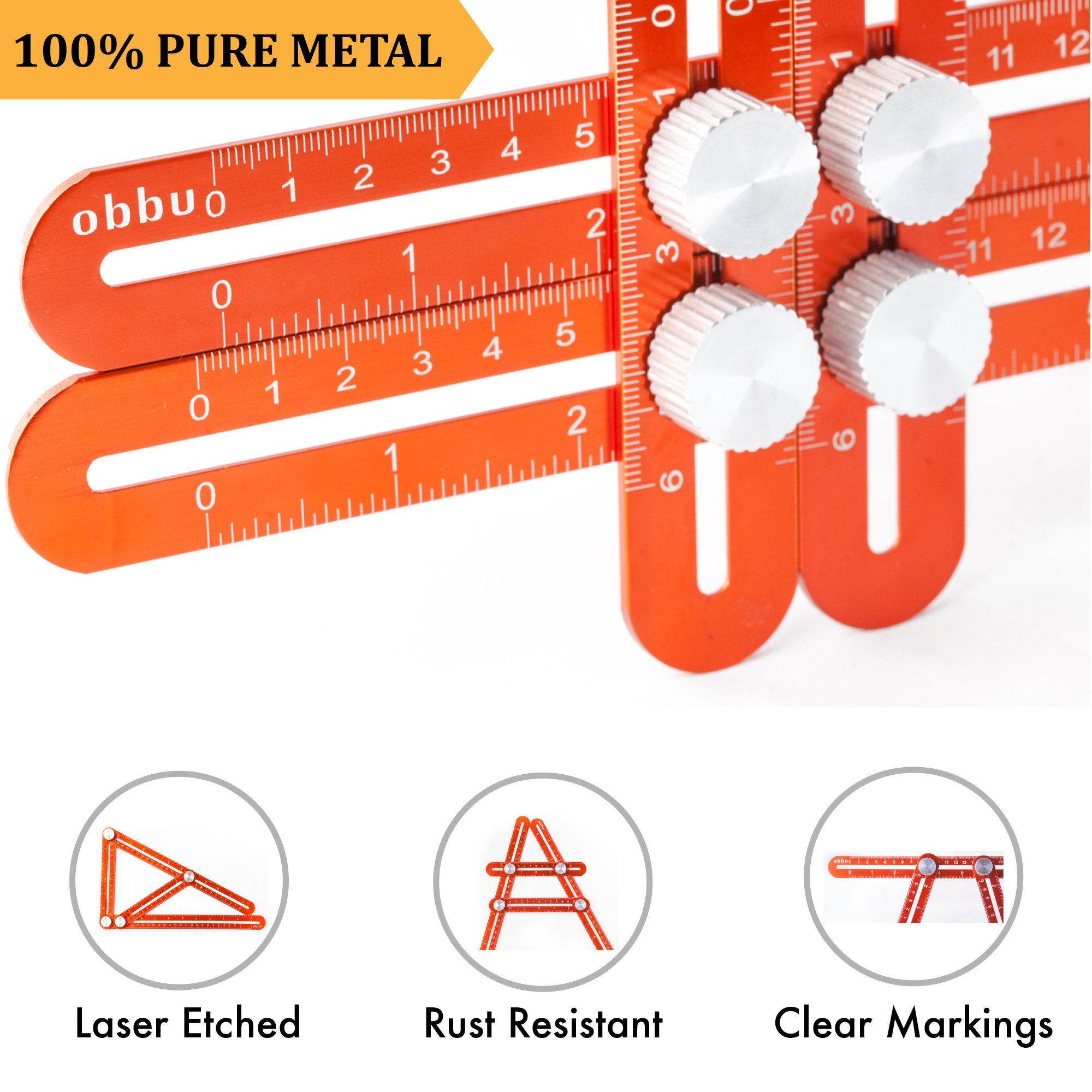 Obbu Universal Multi Angle Measuring Ruler – Premium Aluminum Metal – Angle Measuring Multi Tool – No Plastic – Laser Etched – Template Tool for Tool Box for Men – Gift for Handymen Crafts men (Red)