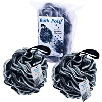 Bath Shower Pouf - Bamboo Charcoal Infused Large Mesh Sponge Loofah Ball 60 g - Body Scrubber - Cleansing and Exfoliating - for Men Women Kids (2-Pack)
