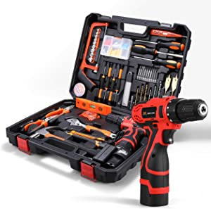 HOH-Tech Cordless Hammer Drill Tool Kit, 60Pcs Household Power Tools Drill Set with 16.8V Lithium Driver Claw Hammer Wrenches Pliers DIY Accessories Tool Kit