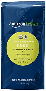 AmazonFresh Organic Fair Trade Peru Whole Bean Coffee, Medium Roast, 12 Ounce