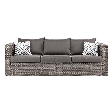 Amazon.com: Southern Enterprises Bristow Outdoor Deep Seating Sofa ...