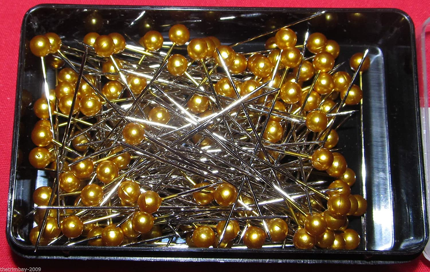 144 Dressmaking Craft Pearl Headed Pins-£1.90 Box- Gold