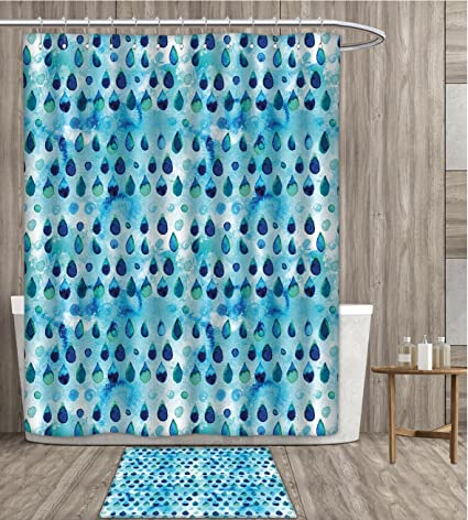 SmllmoonDecor Navy And Teal Shower Curtain 3D Digital Printing Abstract Blue Watercolor Drops Aquarelle Art Rain