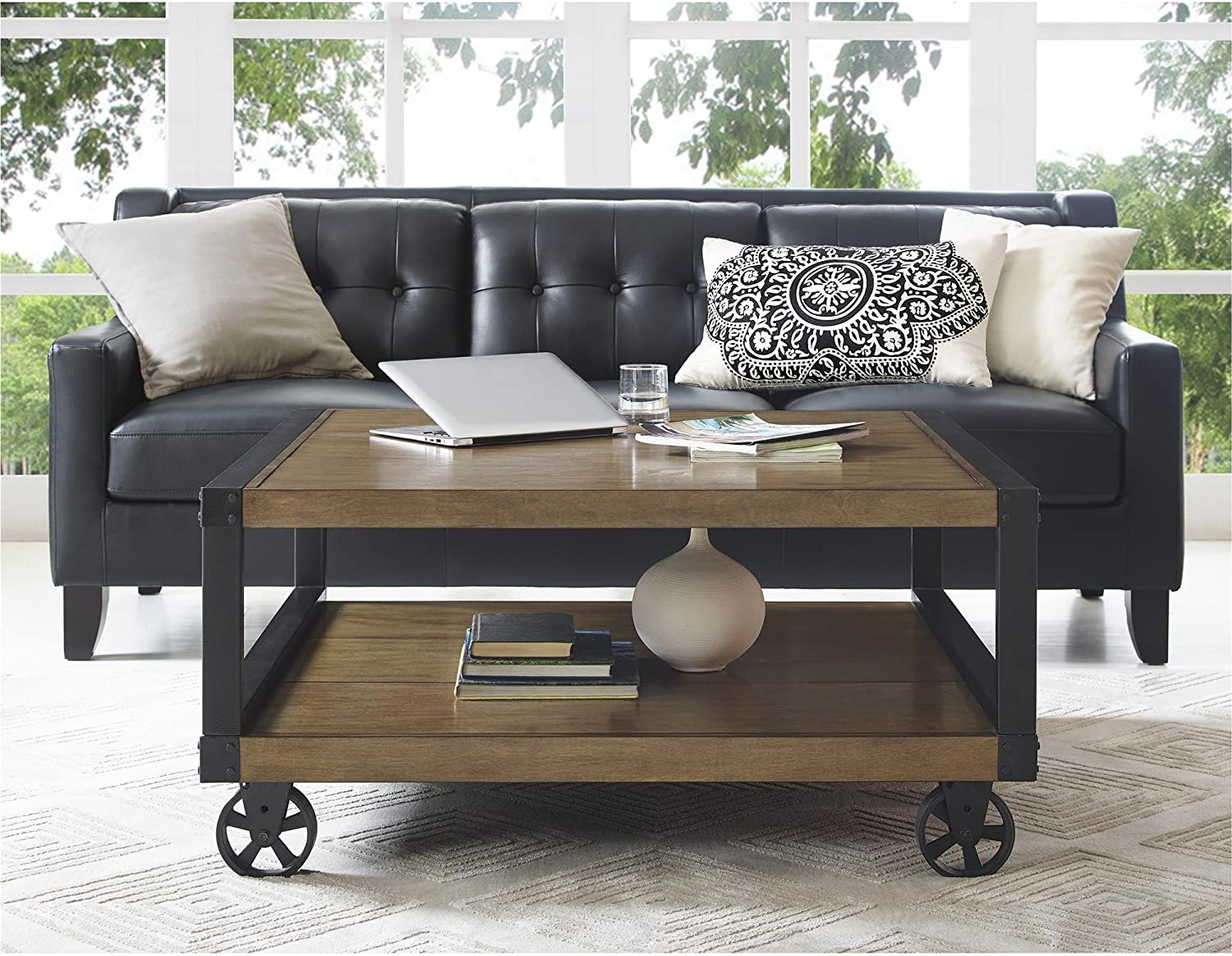 Novogratz Southampton Wood Veneer Coffee Table Rustic Gray Furniture Decor