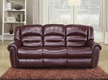 Merveilleux Meridian Furniture Nailhead Reclining Sofa, Burgundy