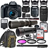Canon EOS Rebel T7i DSLR Camera with 18-55mm Lens Bundle + Canon EF 75-300mm III Lens, Canon 50mm f/1.8, 500mm Lens & 650-130