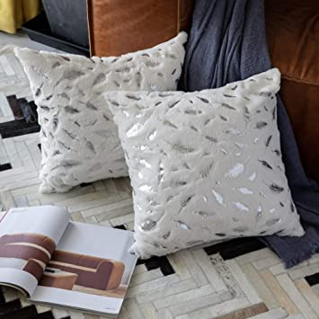 Magnificent Ommato Throw Pillows Covers 18 X 18 Set Of 2 White Fur With Silver Leaves Soft Throw Pillows For Couch Bed Accent Home Decorative Square Cushions Caraccident5 Cool Chair Designs And Ideas Caraccident5Info