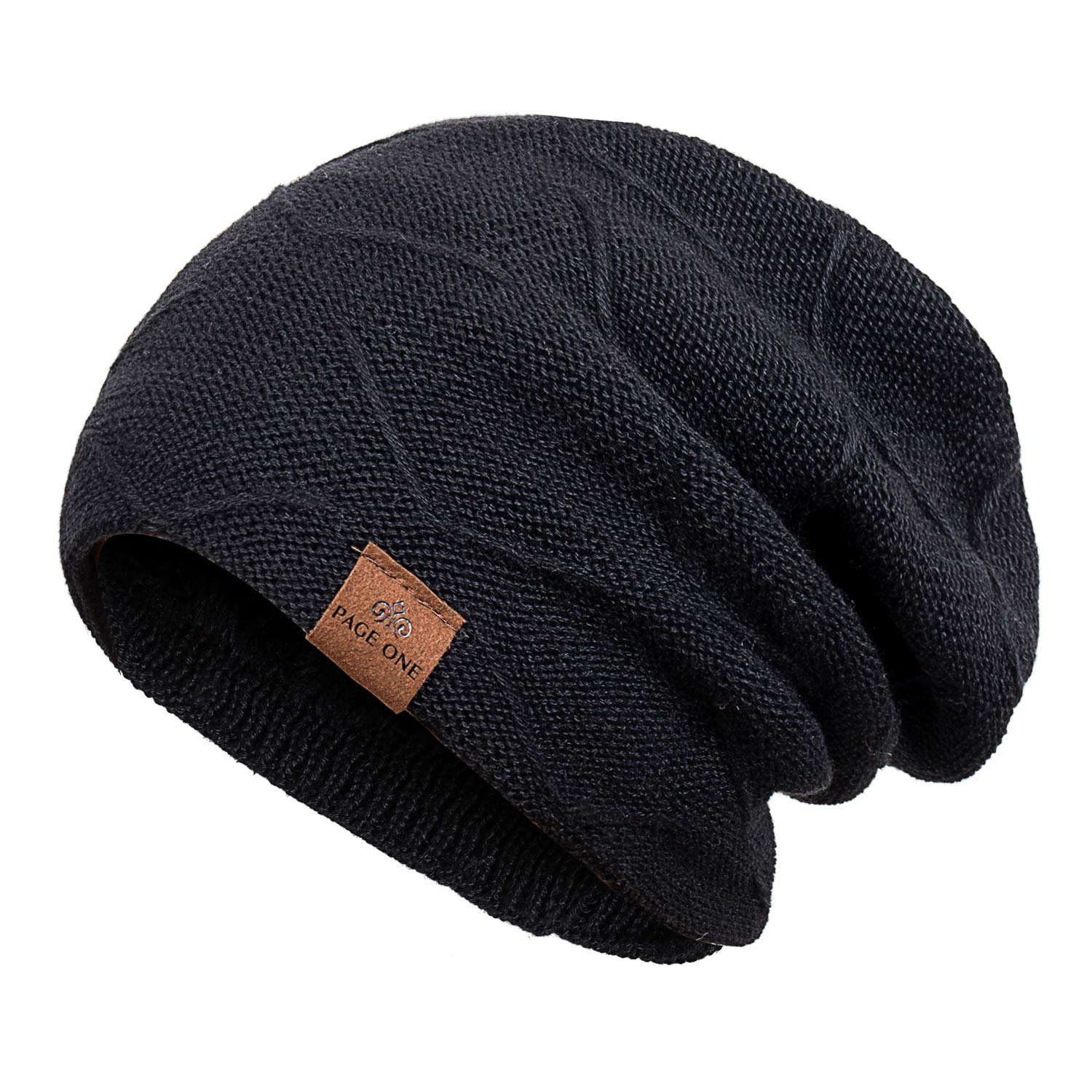 fb6009fa PAGE ONE Mens Winter Baggy Slouchy Beanie Hat Trendy Warm Cable Knit Cap  Men Women product