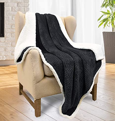 Tirrinia Super Soft Sherpa Throw Blanket Black Chevron 50 X 60 Reversible Fuzzy Micro Plush All Season Fleece Tv Blanket For Bed Or Couch Home Kitchen