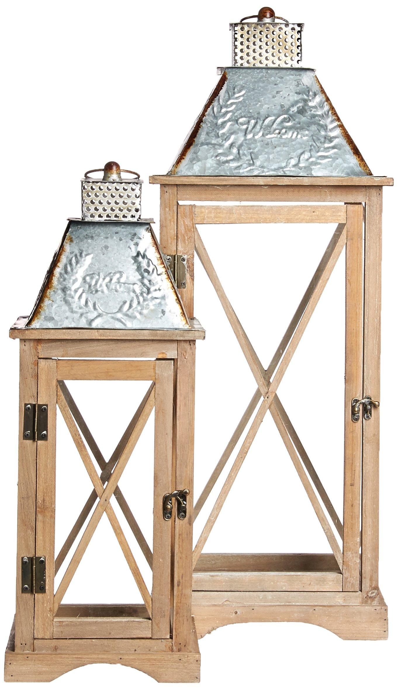 Special T Wood/Galvanized Lantern, Set of 2