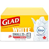 Glad White Garbage Bags - Small 25 Litres - with Febreze Fresh Clean Scent, 48 Trash Bags (packaging may vary)