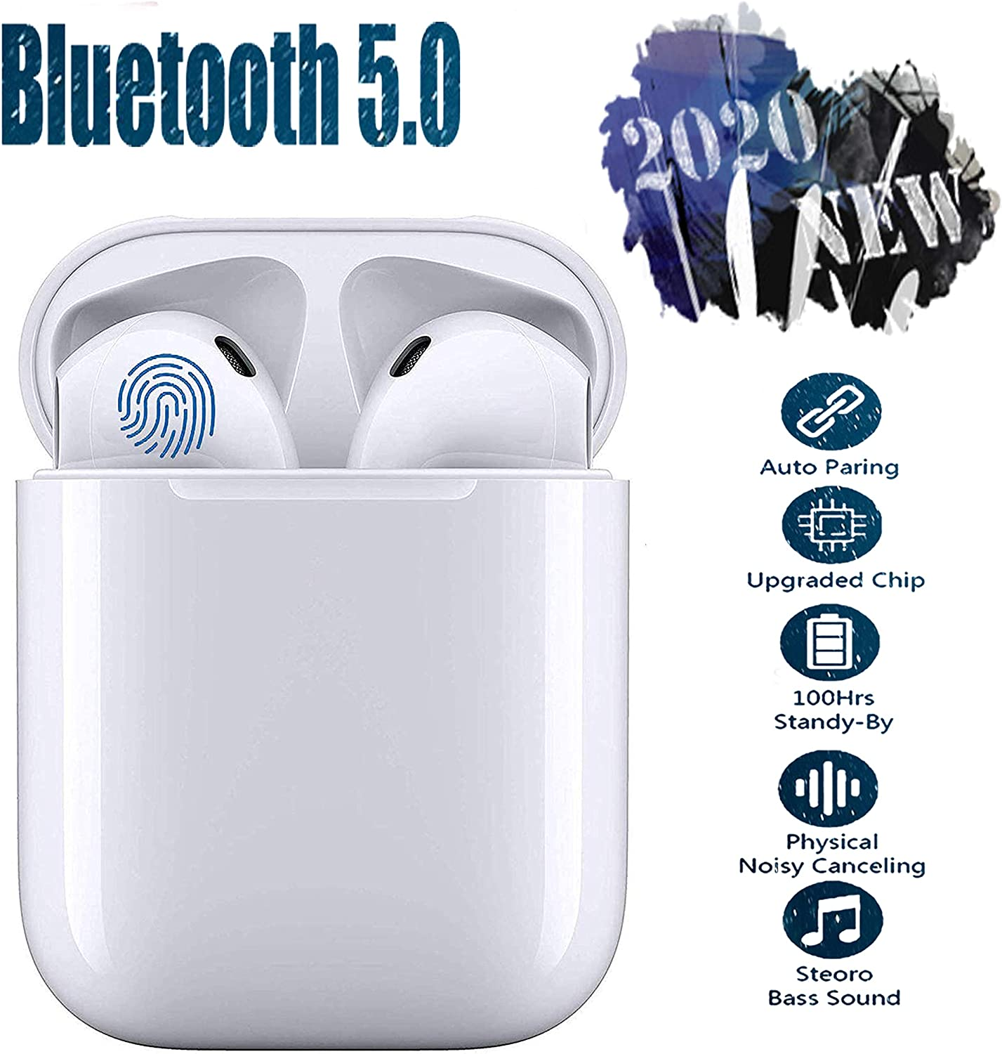 i11 Auriculares Bluetooth 5.0 Toque Inteligente Auriculares Bluetooth Inalámbrico 24H Tiempo De Juego Audio Stereo 3D in Ear con Mic,IPX5 Resistentes al Agua para Apple Airpods/Android/iPhone/Samsung