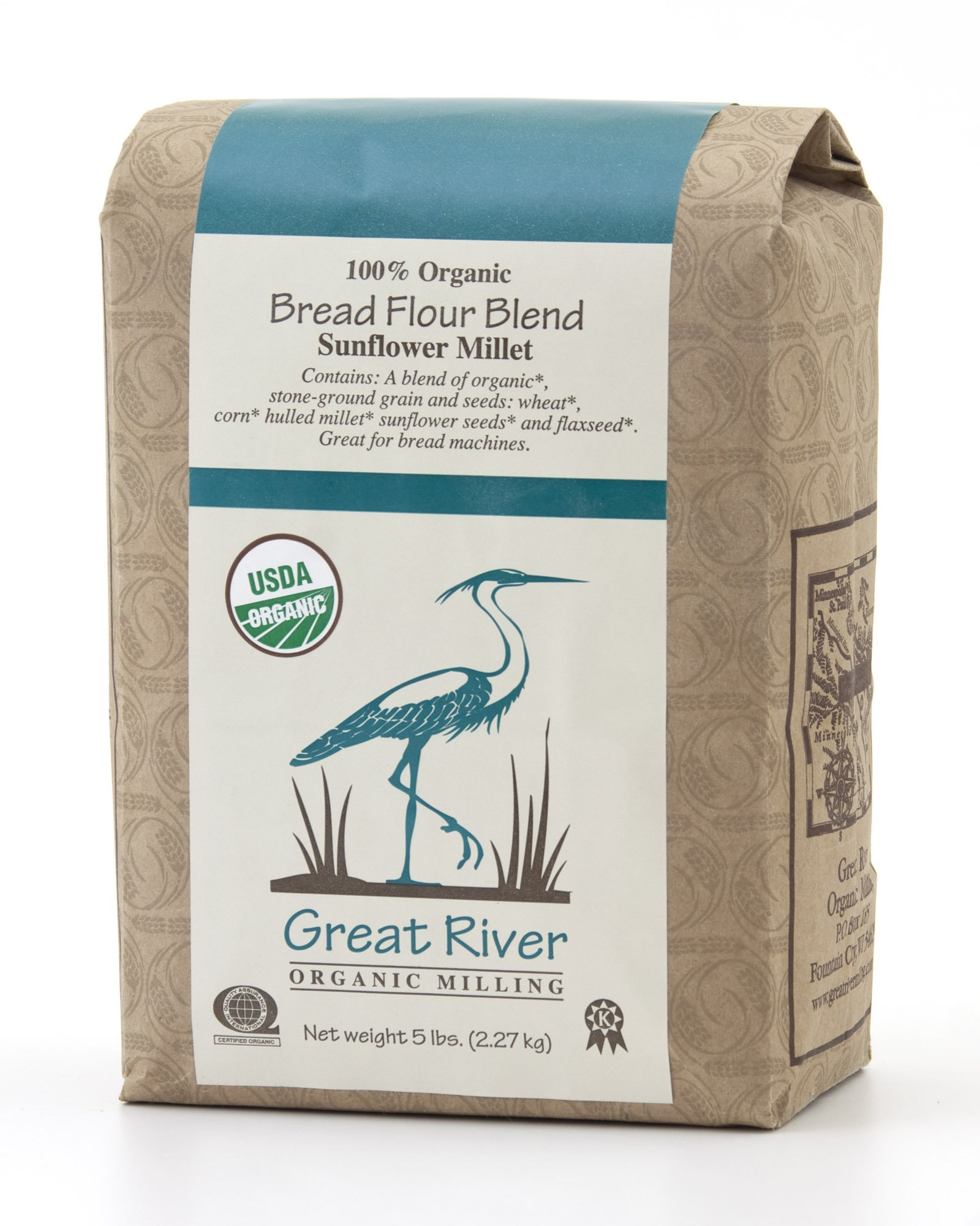 Great River Organic Milling Organic Bread Flour Blend Sunflower Millet, 5 Pound Bags (Pack of 4)