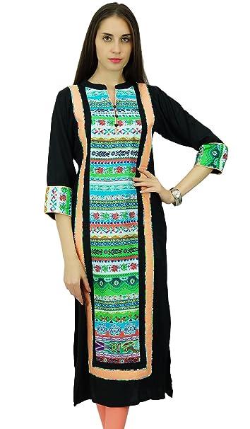 Phagun étnico Kurti diseñador Bollywood Kurta algodón y rayón vestido de la túnica
