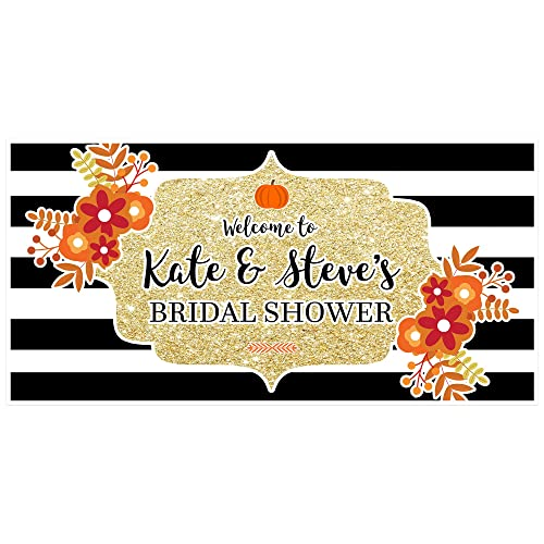 black and white striped fall pumpkin bridal shower banner personalized party backdrop