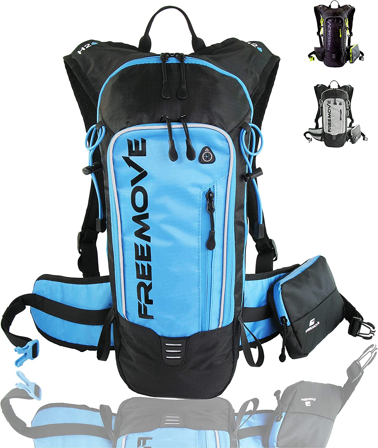 Lightweight Cycling Running Fully Adjustable MTB Leakproof Multiple Pockets 10L Capacity Camel Pack Gear for Day Hiking FREEMOVE Hydration Pack Backpack with 2 Liter Water Bladder and Cooler Bag