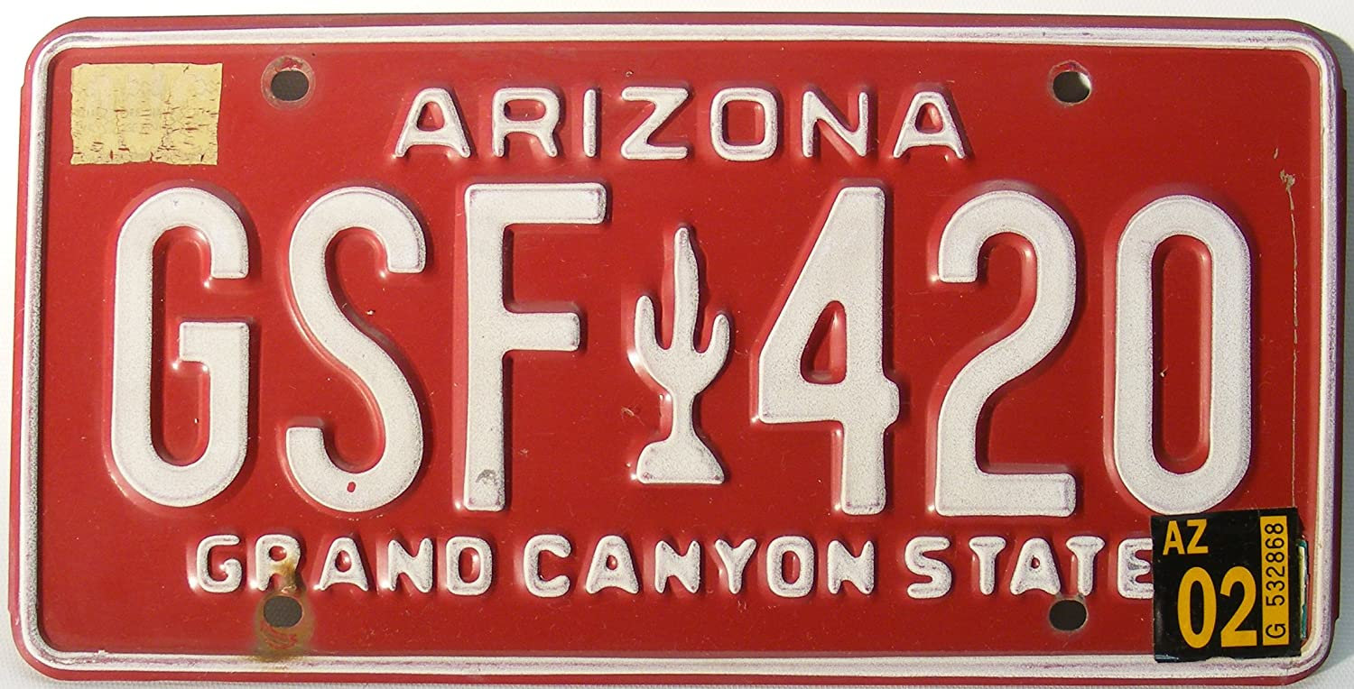 Amazon.com: Arizona License Plate white numbers on red with white ...