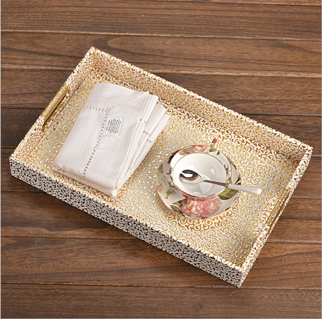 GFYWZ Leather Tray Home Hotel Supplies Rectangle Tea tray Cups Fruit dish , 2